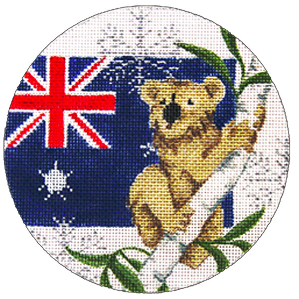 Australia  Ornament - Hand Painted Needlepoint Canvas from Trubey Designs