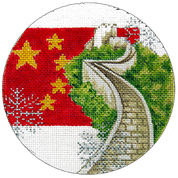 China Ornament - Hand Painted Needlepoint Canvas from Trubey Designs