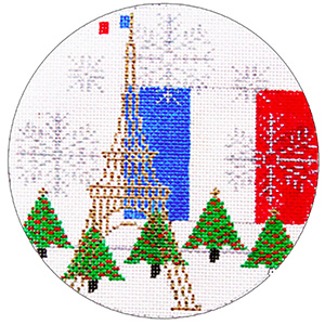 France Ornament - Hand Painted Needlepoint Canvas from Trubey Designs