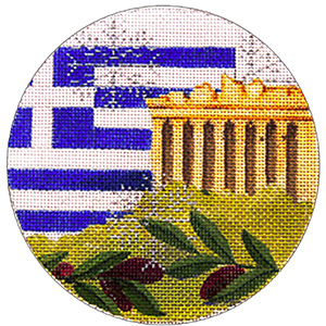 Greece Ornament - Hand Painted Needlepoint Canvas from Trubey Designs