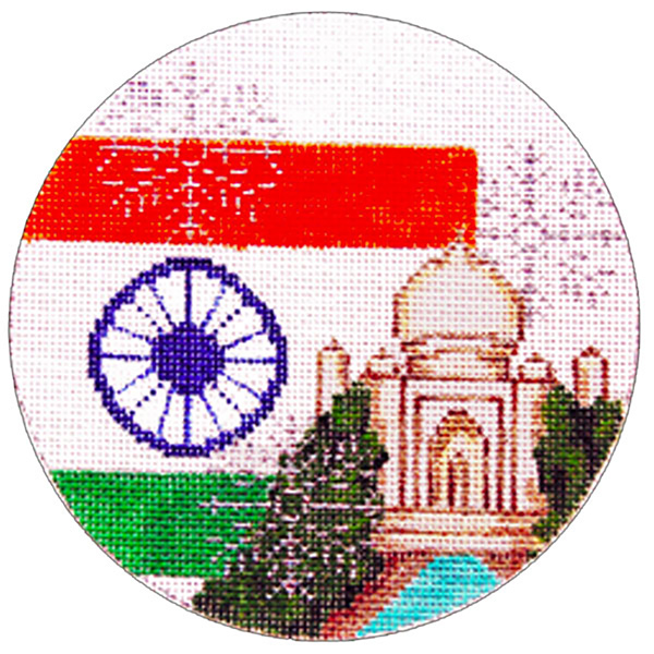 India Ornament - Hand Painted Needlepoint Canvas from Trubey Designs