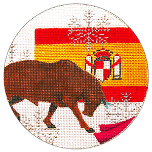 Spain Ornament - Hand Painted Needlepoint Canvas from Trubey Designs