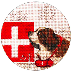 Switzerland Ornament - Hand Painted Needlepoint Canvas from Trubey Designs