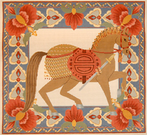 Horse Pillow 1 - Tan - Hand Painted Needlepoint Canvas from Trubey Designs