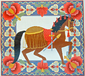 Horse Pillow 2 - Brown - Hand Painted Needlepoint Canvas from Trubey Designs
