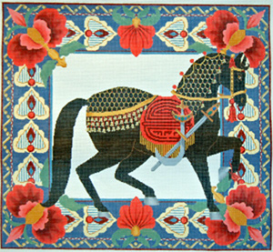 Horse Pillow 3 - Black - Hand Painted Needlepoint Canvas from Trubey Designs