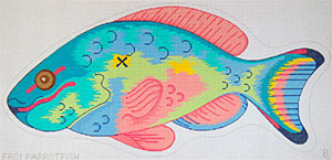Parrotfish - Hand Painted Needlepoint Canvas from the BSP/Ziba Collection