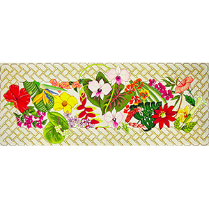 Floral Lattice Bench Cover - Hand-Painted Needlepoint Tapestry Canvas from Trubey Designs
