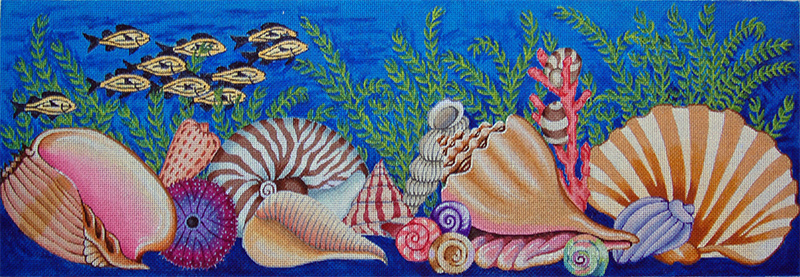 Seashells Bench Cover/Runner - Hand-Painted Needlepoint Tapestry Canvas from Trubey Designs