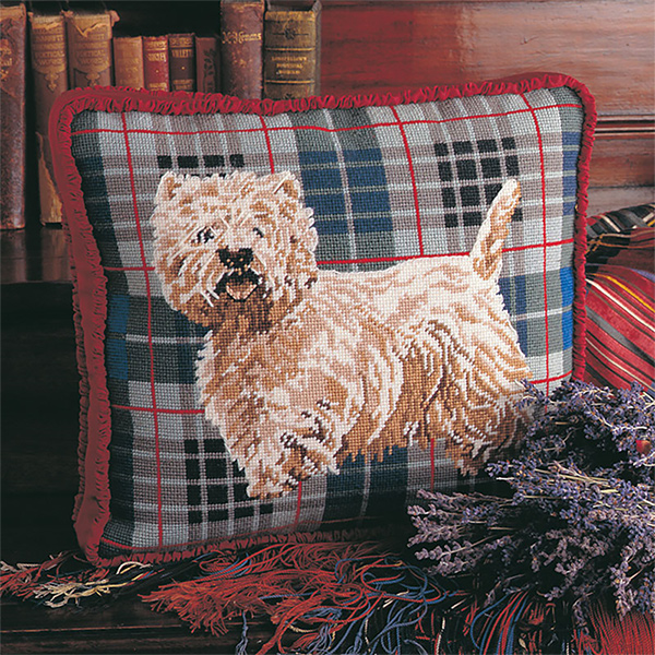 Glorafilia Needlepoint - Tartan Westie Cushion Kit