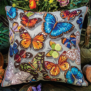 Glorafilia Needlepoint - Butterflies Cushion Kit