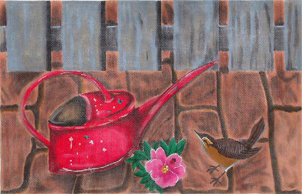 Red Watering Can with Wren by Sharon G