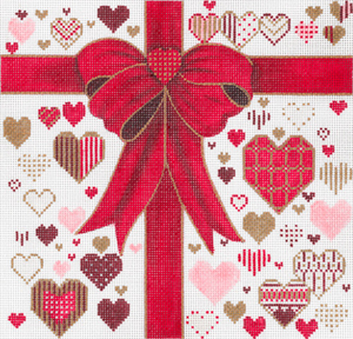 Red Ribbons with Hearts (Small) by Sharon G