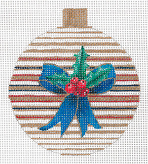 Blue Bow & Holly Ornament by Sharon G