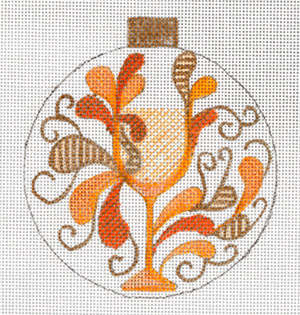 Paisley White Wine Ornament by Sharon G