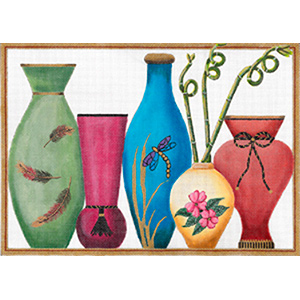 Five Vases with Curly Bamboos by Sharon G