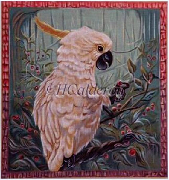 Cockatoo Hand Painted Needlepoint Canvas by H Calderon