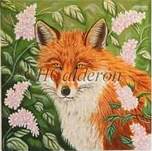 Fox In Lilacs Hand Painted Needlepoint Canvas by H Calderon