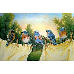 Birds On A Line Hand Painted Needlepoint Canvas by H Calderon