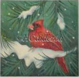 Cardinal In Snow Hand Painted Needlepoint Canvas by H Calderon