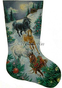 Christmas Eve Run Hand Painted Needlepoint Christmas Stocking Canvas by H Calderon