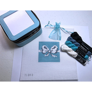 Jewelry Case Kit - Hand Painted Aqua Canvas