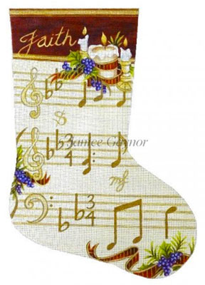 Susan Roberts Needlepoint Designs - Hand-painted Christmas Stocking by Janice Gaynor - Peace Musical Score
