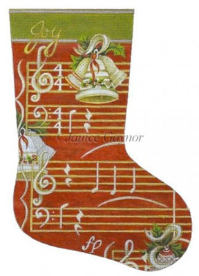 Susan Roberts Needlepoint Designs - Hand-painted Christmas Stocking by Janice Gaynor - Faith Musical Score