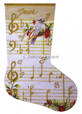 Susan Roberts Needlepoint Designs - Hand-painted Christmas Stocking by Janice Gaynor - Joy Musical Score
