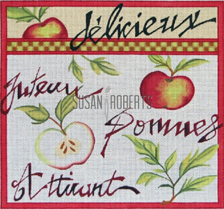 French Apple Hand Painted Canvas by Janice Gaynor