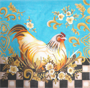 Checkerboard Hen Hand Painted Canvas by Janice Gaynor