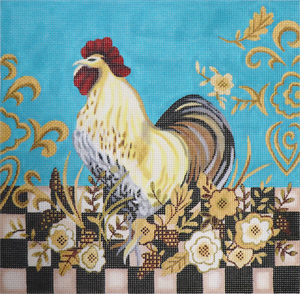 Checkerboard Rooster Hand Painted Canvas by Janice Gaynor