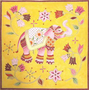 Pink Elephant Hand Painted Canvas by Janice Gaynor