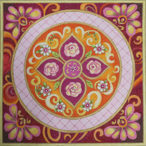 Pink Medallion Hand Painted Canvas by Janice Gaynor
