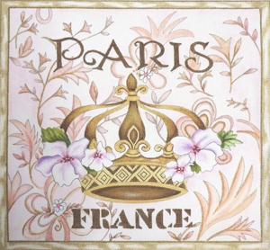 Paris Crown France Hand Painted Canvas by Janice Gaynor