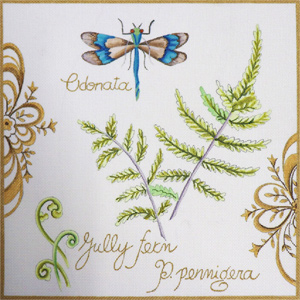 Botanical Dragonfly Hand Painted Canvas by Janice Gaynor