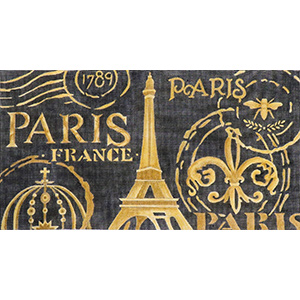 Paris in Black Hand Painted Canvas by Janice Gaynor