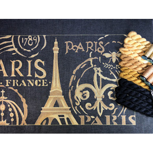 Silk & Metallic Kit - Paris in Black Hand Painted Canvas by Janice Gaynor