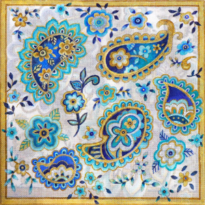 Blue Paisley Hand Painted Canvas by Janice Gaynor
