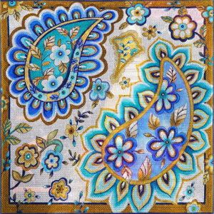 Blue Paisley Large Hand Painted Canvas by Janice Gaynor