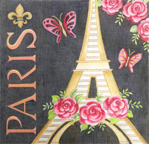 Paris Eiffel Tower France Hand Painted Canvas by Janice Gaynor
