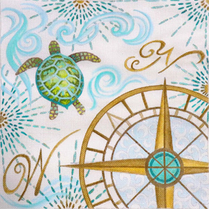 Coastal Turtle Hand Painted Canvas by Janice Gaynor