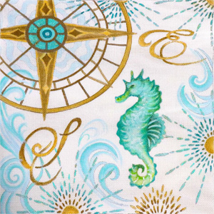 Coastal Seahorse Hand Painted Canvas by Janice Gaynor