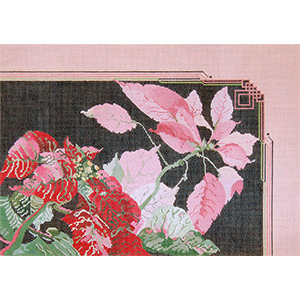 Pink & Red Poinsettias Christmas Pillow - Hand Painted Needlepoint Canvas by Joy Juarez