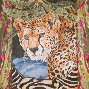 Cheeta - Hand Painted Needlepoint Canvas by Joy Juarez