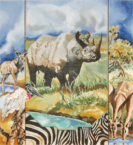 Black Rhino, Marabou, Storks, Gazelles - Hand Painted Needlepoint Canvas by Joy Juarez