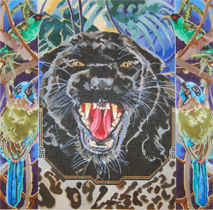 Black Leopard with Forest Birds - Hand Painted Needlepoint Canvas by Joy Juarez