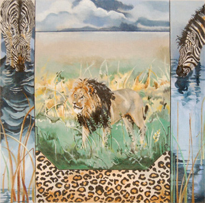 Black-maned Lion with Zebras - Hand Painted Needlepoint Canvas by Joy Juarez