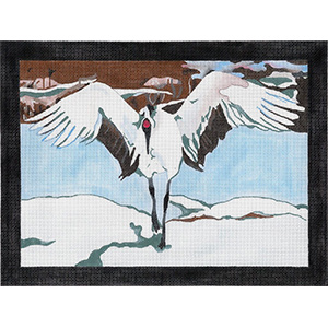 Japanese Snow Crane - Hand Painted Needlepoint Canvas by Joy Juarez