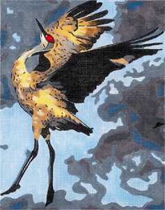 Sandhill Crane - Hand Painted Needlepoint Canvas by Joy Juarez